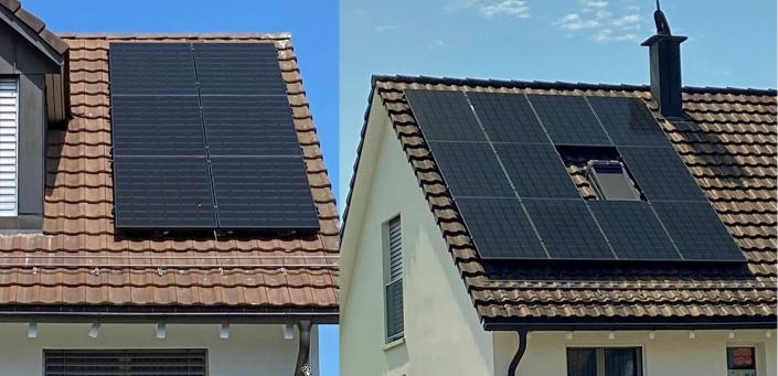 Aufdachanlage 5.78 kWp. in der kommunalen Kernzone. 6 Module à 340 W Süd-West, 11 Module à 340 W Nord-Ost, Total 5.78 kWp, Jahresertrag ca. 3900 kWh Realisiert 2020