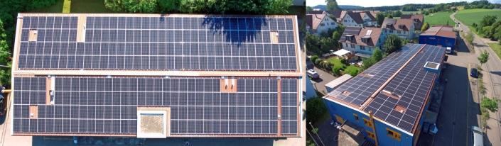 Aufdachanlage 81.9 kWp. Jahresertrag ca. 81'000 kWh, 252 Module JA Solar 325 Wp, 20 Leistungsoptimierer TIGO, 2 Wechselrichter SMA 1x 50 kVA, 1x 30 kVA, 3 Sonnenbatterien mit je 15 kWh =45 kWh, Direkte Befestigung auf Blechdach, Realisiert 2020